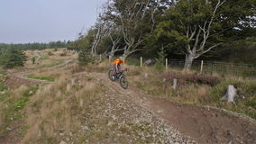 Mountain biker riding trails in Wales stock video footage