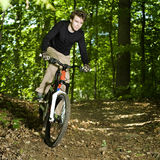 Mountain Biker riding through trees Stock Images