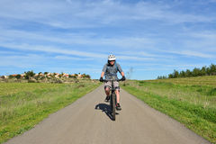 Mountain biker on a road stock photography