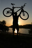 Mountain biker silhouette stock photo