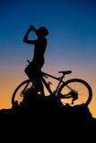 Mountain biker silhouette Stock Image