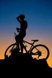 Mountain biker silhouette Royalty Free Stock Photography