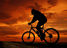 Mountain biker silhouette in sunrise. Silhouette moving cyclists in the sunrise Stock Image