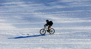Mountain biker on ski resort slope Royalty Free Stock Photos