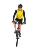 Mountain biker in studio Royalty Free Stock Photography