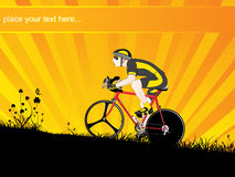 Mountain biker on sunset background, illustration royalty free stock photography