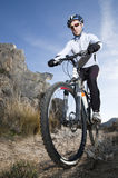 Mountain biker on trail Stock Photos