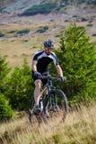Mountain biker on trails Royalty Free Stock Photos