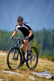Mountain biker on trails Royalty Free Stock Images