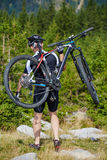 Mountain biker on trails Royalty Free Stock Photo