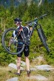 Mountain biker on trails Royalty Free Stock Photo