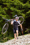 Mountain biker on trails Royalty Free Stock Photography