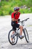 Mountain biker waits. On rural road Royalty Free Stock Photos