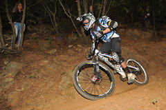 Mountain biker  Yannik Senecal - Enduro racer Royalty Free Stock Photo