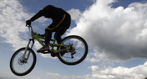 Mountain bikers. THESSALONIKI,GREECE - OCT 16: Unidentified bikers take part in Yedi Kule Runaway competition in Thessaloniki during Urban Downhill on October 16 Stock Photos