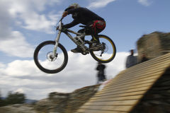 Mountain bikers. THESSALONIKI,GREECE - OCT 16: Unidentified bikers take part in Yedi Kule Runaway competition in Thessaloniki during Urban Downhill on October 16 Stock Photography