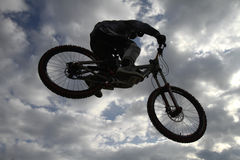 Mountain bikers. THESSALONIKI,GREECE - OCT 16: Unidentified bikers take part in Yedi Kule Runaway competition in Thessaloniki during Urban Downhill on October 16 Royalty Free Stock Image