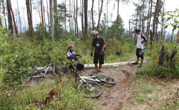 Mountain bikers. Mountain biker was traveling cross-country in a village in Salatiga, Central Java, Indonesia Stock Photo