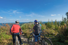 Mountain bikers on the Hornisgrinde. Near Seebach, Black Forest, Baden-Wuerttemberg, Germany, Europe Stock Photos