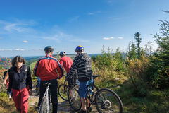 Mountain bikers on the Hornisgrinde Stock Photos