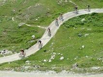 Mountain bikers on mountain road stock photography