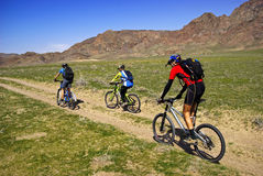 Mountain bikers on old road in steppe Royalty Free Stock Image
