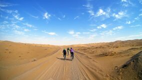 Free Mountain Bikers Riding The Bike In A Desert Road Royalty Free Stock Photo - 190209595