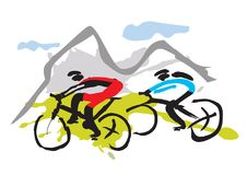 Mountain bikers riding the trail Royalty Free Stock Photo