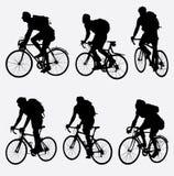Mountain bikers silhouette. Vector illustration Stock Image