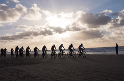 Mountain bikers taking part in the beach race Egmond-Pier-Egmond Royalty Free Stock Photo