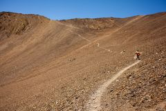 Mountain bikers are travelling in the highlands of Tusheti regio. N, Georgia Royalty Free Stock Photos