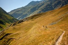 Mountain bikers are travelling in the highlands of Tusheti regio. N, Georgia Stock Photos