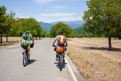 Mountain bikers are travelling in the highlands of Tusheti regio. N, Georgia Stock Photography