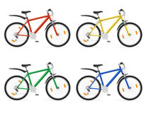 Mountain bikes with gear shifting vector illustration. On white background Stock Photo