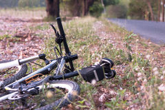 Mountain bikes parked on the street. Royalty Free Stock Photography