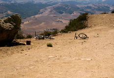Mountain Bikes on Trail. Mountain Bikes with no riders on Trail royalty free stock images