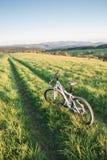 Mountain biking in Bieszczady. Mountains, Poland Royalty Free Stock Photo