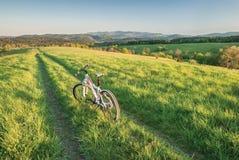 Mountain biking in Bieszczady. Mountains, Poland Royalty Free Stock Image