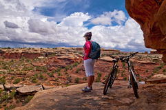 Mountain Biking in Canyonlands Royalty Free Stock Photo