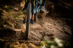 Mountain biking close up of the tire and fork Stock Image