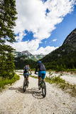 Mountain biking couple on Lake Garda. Stock Photo