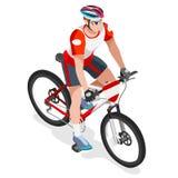 Mountain Biking Cyclist Bicyclist Athlete Summer Games Icon Set. Stock Photos