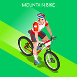 Mountain Biking Cyclist Bicyclist Athlete Summer Games Icon Set.Mountain Biking Cycling Concept.3D Isometric Sporting Bicycle. Competition Race.Sport Cycling Royalty Free Stock Photos