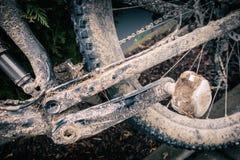Mountain biking, dirty and broken bicycle closeup Royalty Free Stock Image