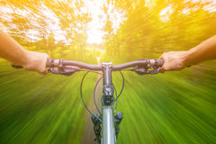 Mountain biking down hill descending fast on bicycle. Stock Photo