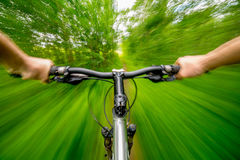 Mountain biking down hill descending fast on bicycle. Stock Images