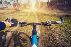 Mountain biking down hill descending fast on bicycle. Royalty Free Stock Photo