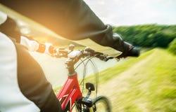 Mountain biking down hill descending fast. Stock Image