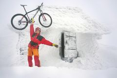 Mountain biking on Goverla in the New Year Stock Photography