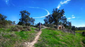 Mountain biking in a historical place Royalty Free Stock Photos